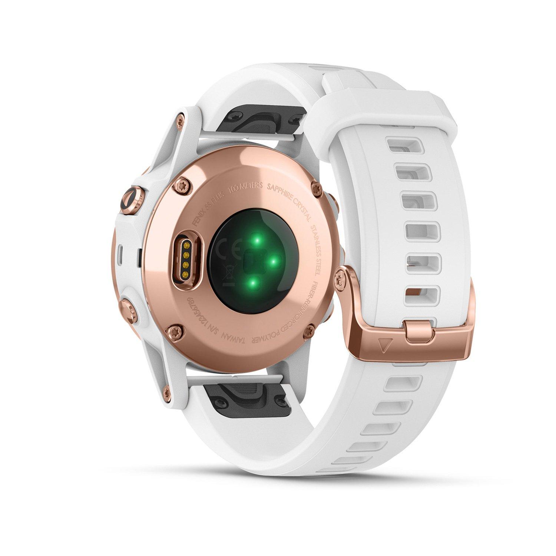 Montre connectée Garmin fenix 5S Plus Sapphire plaquée or rose, bracelet blanc vue 5