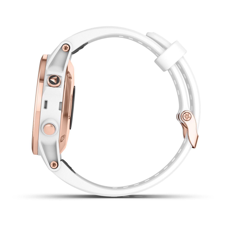 Montre connectée Garmin fenix 5S Plus Sapphire plaquée or rose, bracelet blanc vue 6