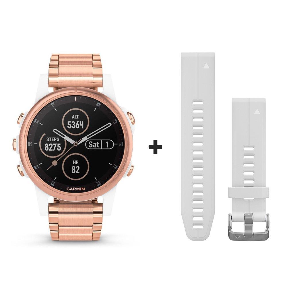 Montre connectée Garmin fenix 5S Plus Sapphire blanche et plaquée or rose avec bracelet plaqué or rose vue 1