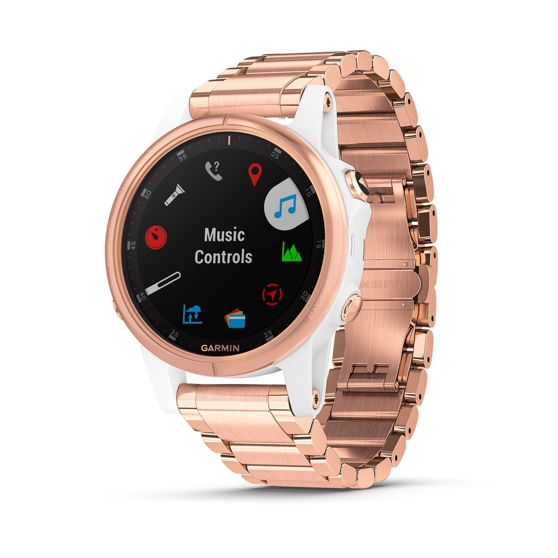 Montre connectée Garmin fenix 5S Plus Sapphire blanche et plaquée or rose avec bracelet plaqué or rose vue 3