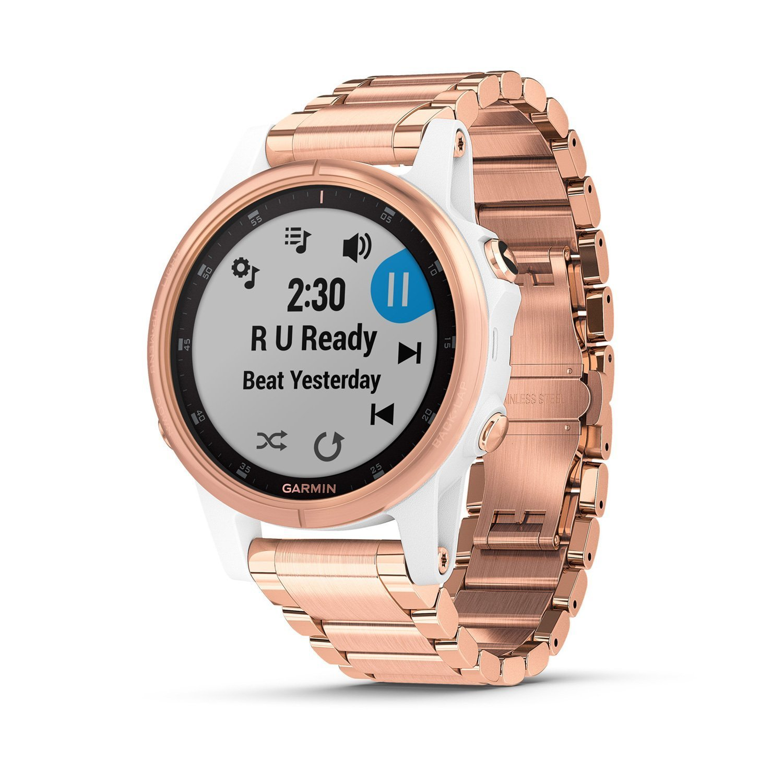 Montre connectée Garmin fenix 5S Plus Sapphire blanche et plaquée or rose avec bracelet plaqué or rose vue 4