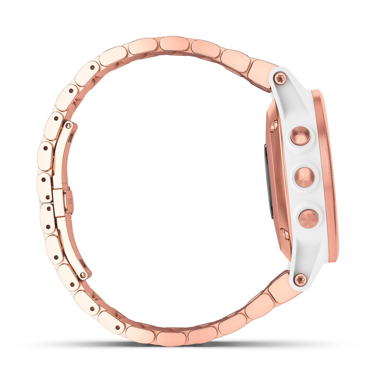 Montre connectée Garmin fenix 5S Plus Sapphire blanche et plaquée or rose avec bracelet plaqué or rose vue 5