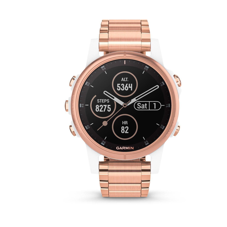 Montre connectée Garmin fenix 5S Plus Sapphire blanche et plaquée or rose avec bracelet plaqué or rose vue 6