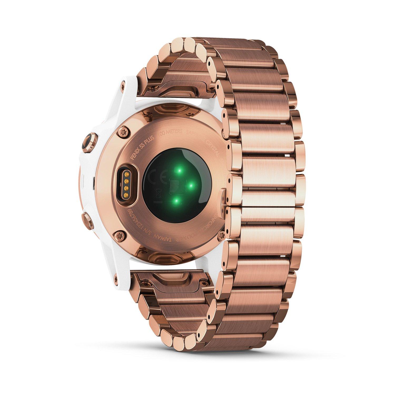 Montre connectée Garmin fenix 5S Plus Sapphire blanche et plaquée or rose avec bracelet plaqué or rose vue 7
