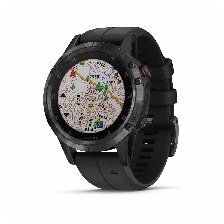 Montre connectée Garmin fenix 5 Plus Sapphire noir avec bracelet noir vue 2