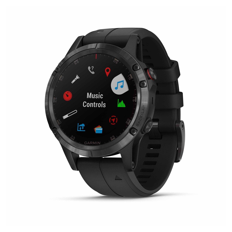 Montre connectée Garmin fenix 5 Plus Sapphire noir avec bracelet noir vue 3