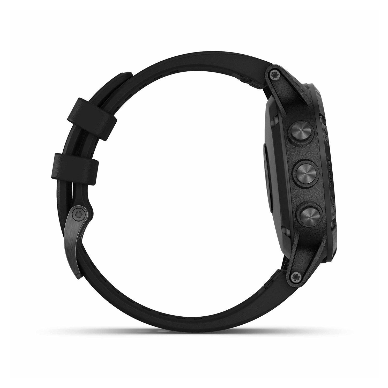 Montre connectée Garmin fenix 5 Plus Sapphire noir avec bracelet noir vue 5