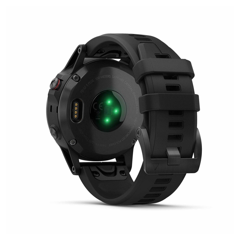 Montre connectée Garmin fenix 5 Plus Sapphire noir avec bracelet noir vue 6