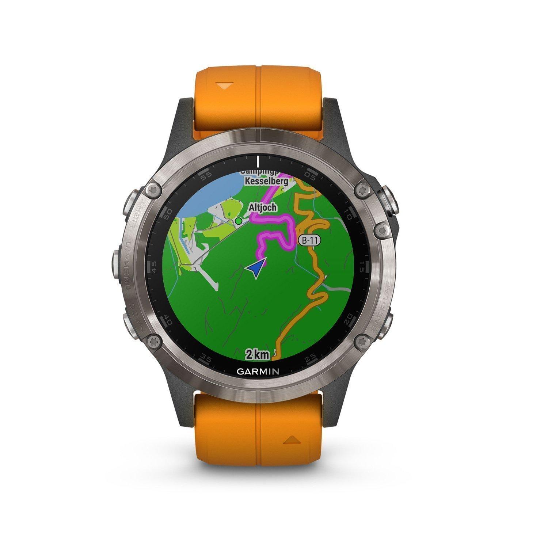 Montre connectée Garmin fenix 5 Plus Sapphire Titanium avec bracelet orange vue 3