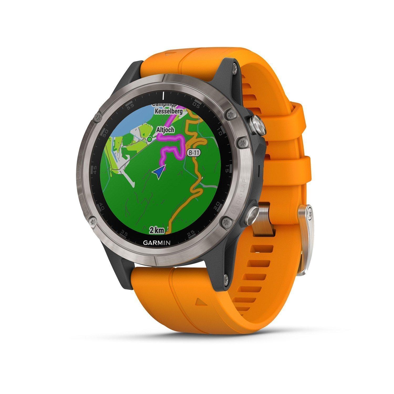 Montre connectée Garmin fenix 5 Plus Sapphire Titanium avec bracelet orange vue 1
