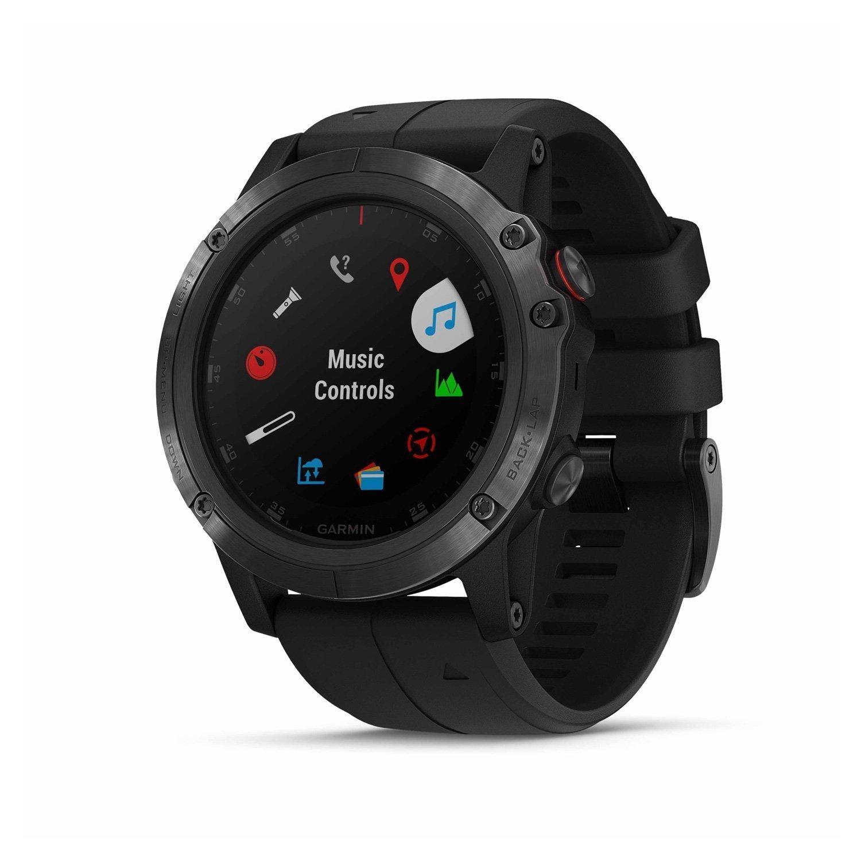 Montre connectée Garmin fenix 5X Plus Sapphire noire avec bracelet noir vue 2