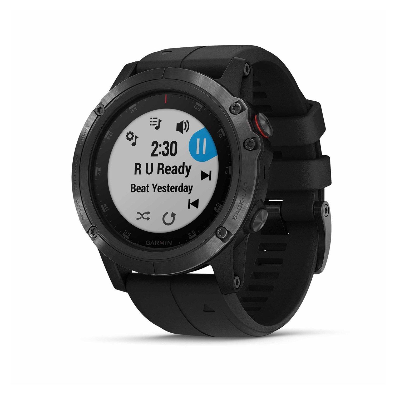 Montre connectée Garmin fenix 5X Plus Sapphire noire avec bracelet noir vue 3