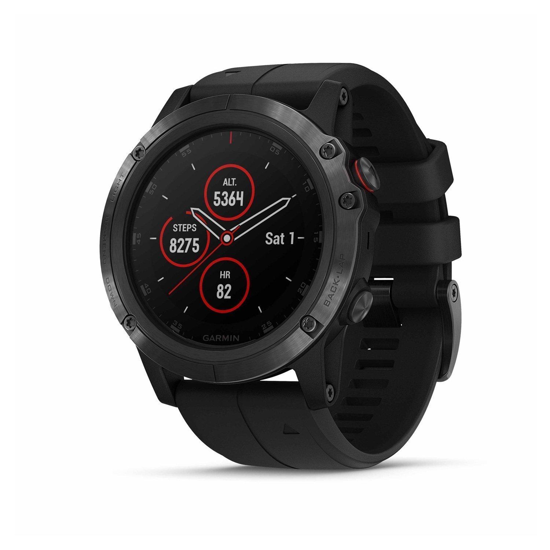 Montre connectée Garmin fenix 5X Plus Sapphire noire avec bracelet noir vue 1
