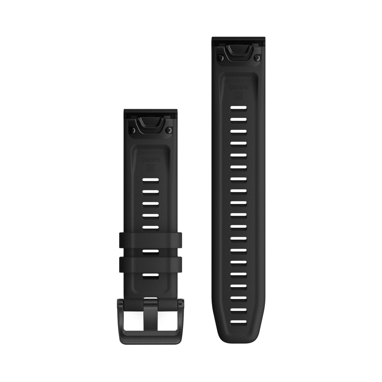 Bracelet de montre Garmin Quickfit 22 en silicone noir vue 2
