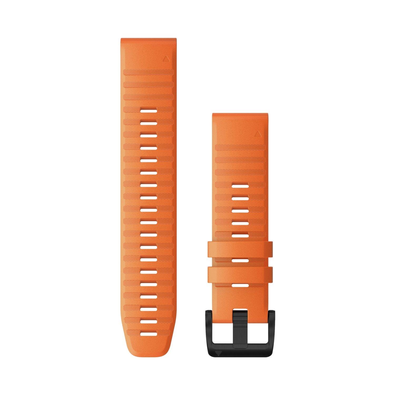 Bracelet de montre Garmin Quickfit 22 en silicone orange vif vue 1