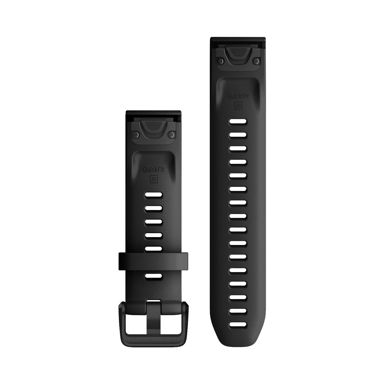 Bracelet de montre Garmin Quickfit 20 en silicone noir vue 2