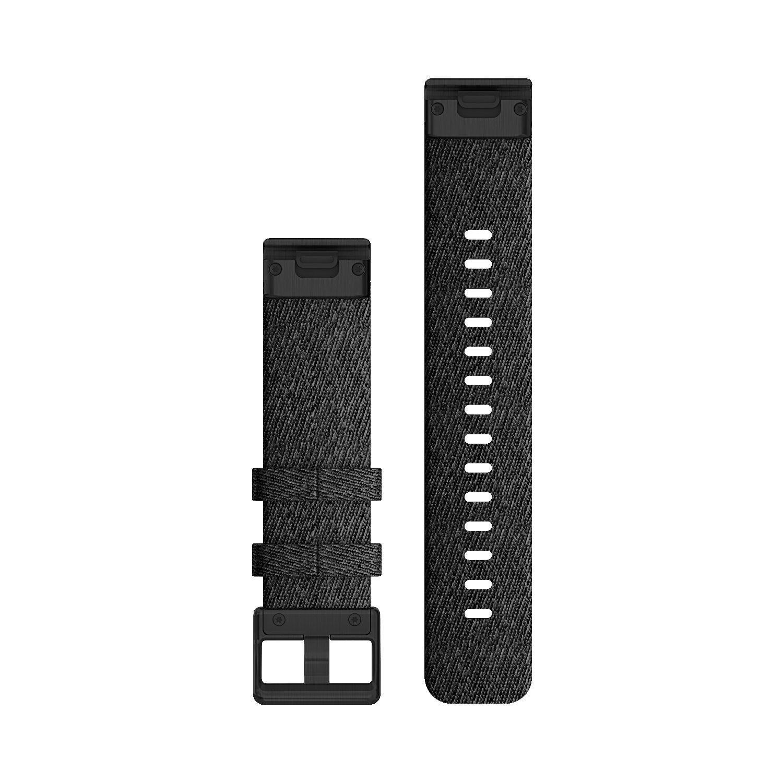 Bracelet de montre Garmin Quickfit 20 en nylon noir chiné vue 2