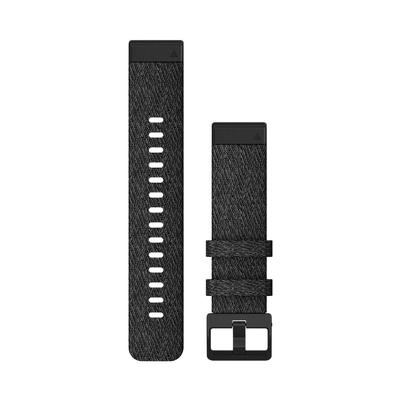 Bracelet de montre Garmin Quickfit 20 en nylon noir chiné vue 1