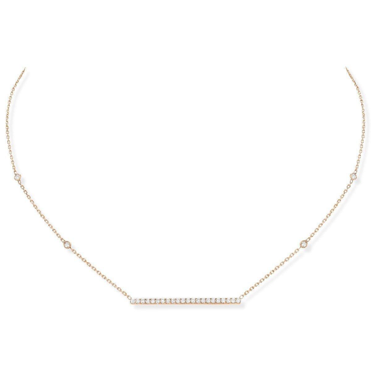 Collier Messika Gatsby Barrette Horizontale en or rose et diamants vue 1