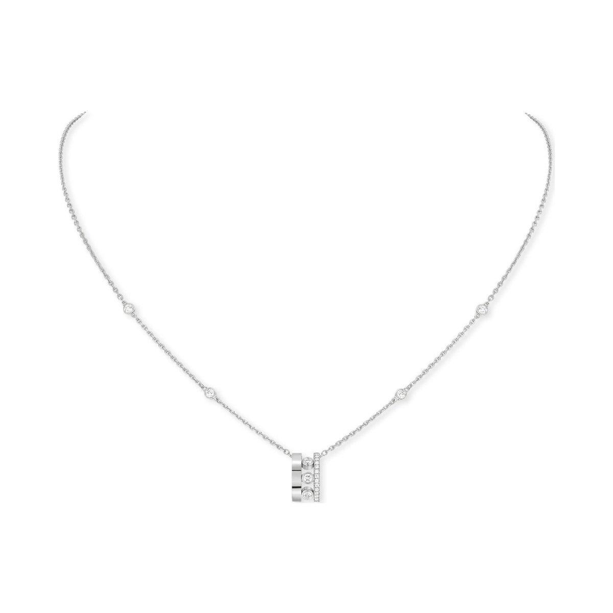 Pendentif sur Chaîne Messika Move Romane en or blanc et diamants vue 1