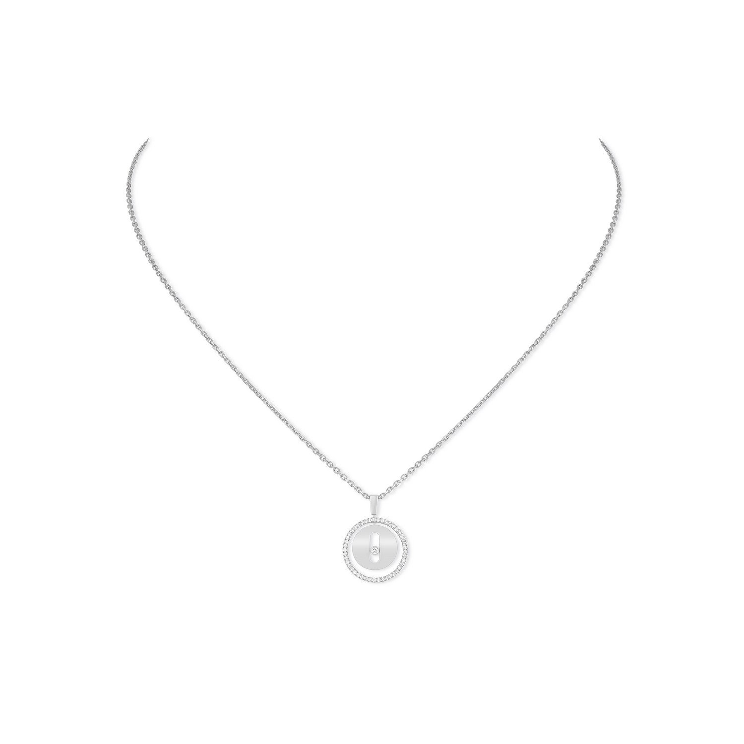 Collier Messika Lucky Move PM en or blanc et diamants