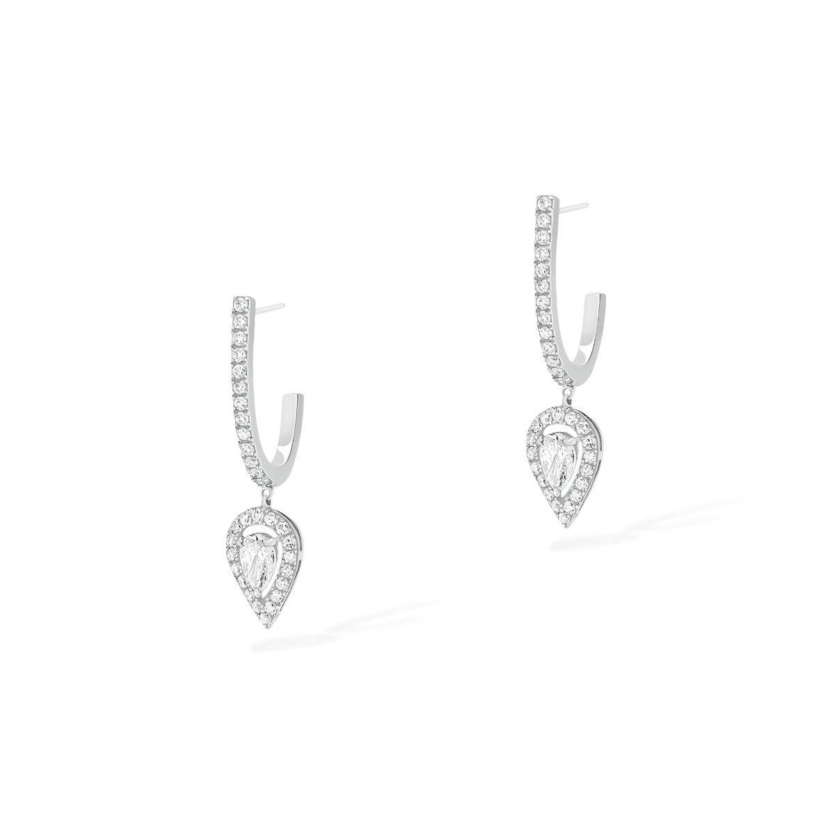 Boucles d'oreilles créoles Messika Joy en or blanc et diamants vue 2