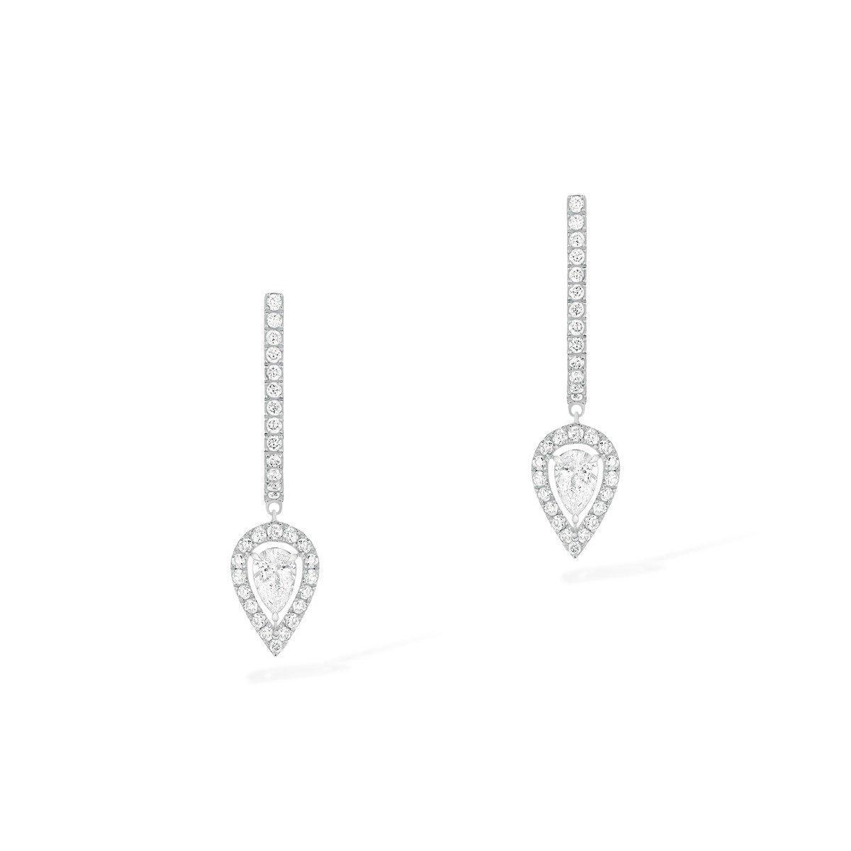 Boucles d'oreilles créoles Messika Joy en or blanc et diamants vue 1