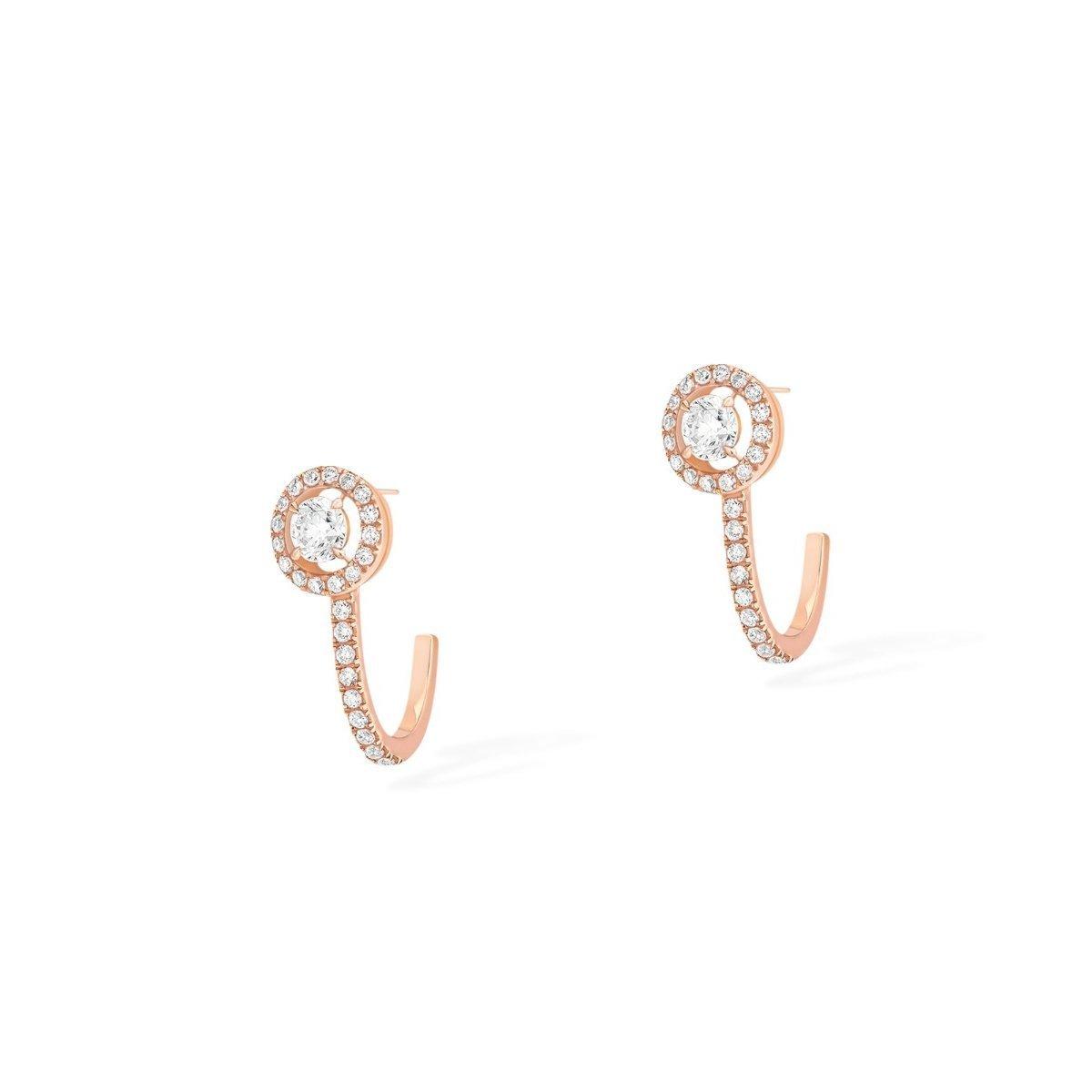 Boucles d'oreilles créoles Messika Joy en or rose et diamants vue 2