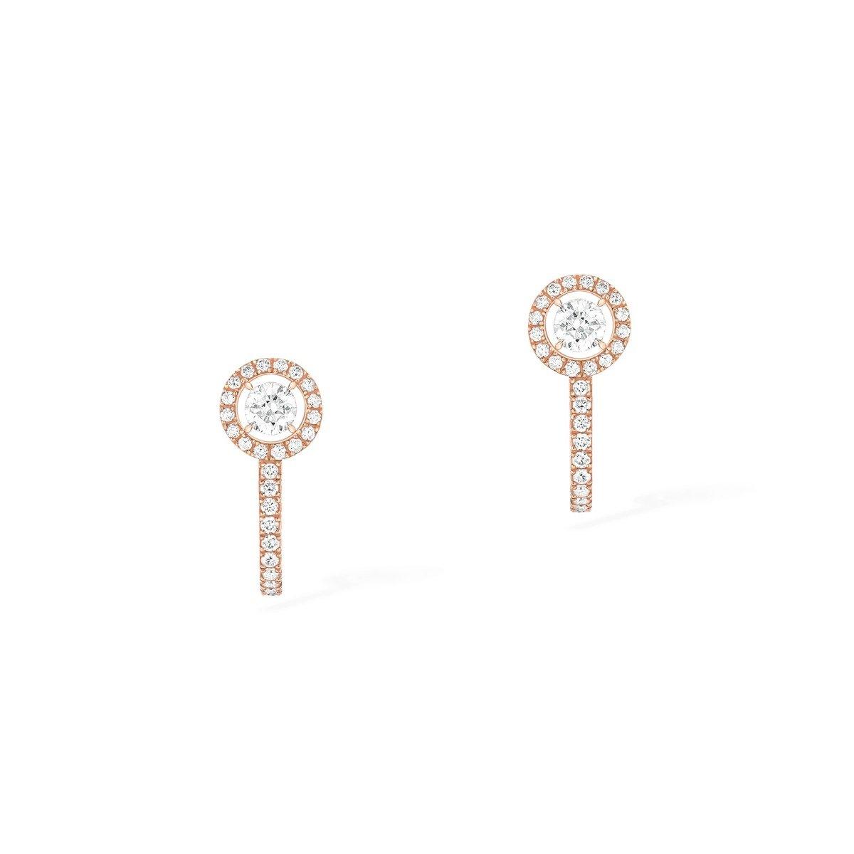Boucles d'oreilles créoles Messika Joy en or rose et diamants vue 1