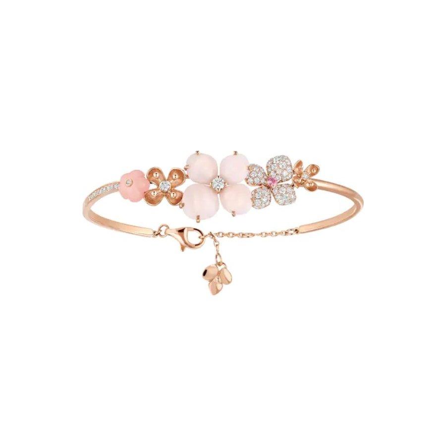 Bracelet Chaumet Hortensia Aube Rosée en or rose, diamants, opale peau d'ange, opale rose et saphir rose