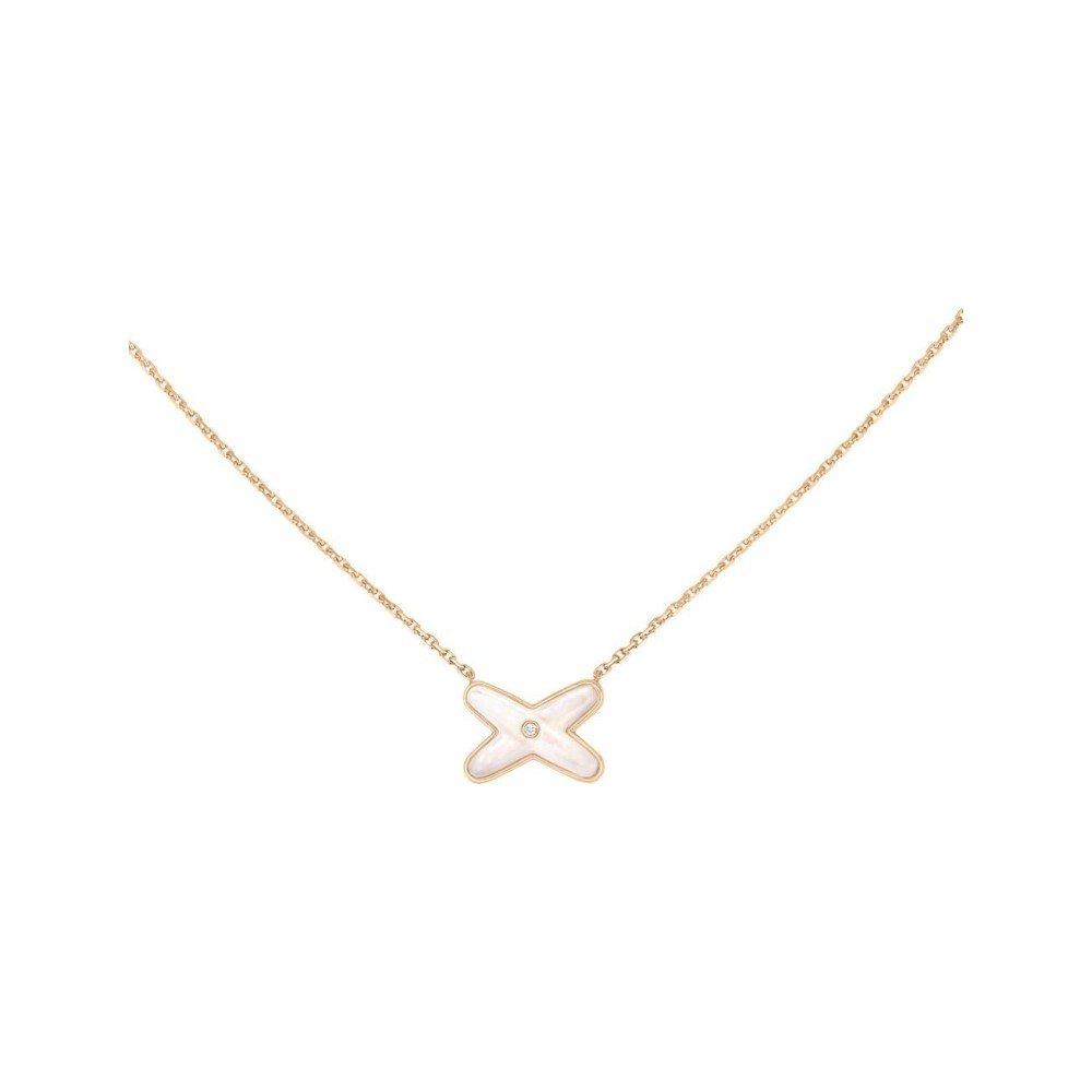 Pendentif Chaumet Jeux de Liens en or rose, nacre et diamant vue 1