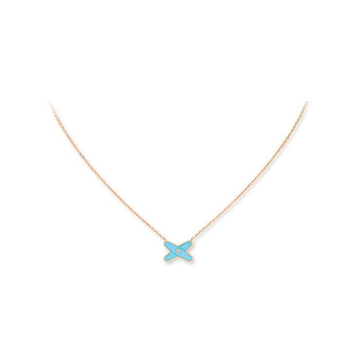 Pendentif Chaumet Jeux de Liens en Or rose Turquoise et Diamant vue 2