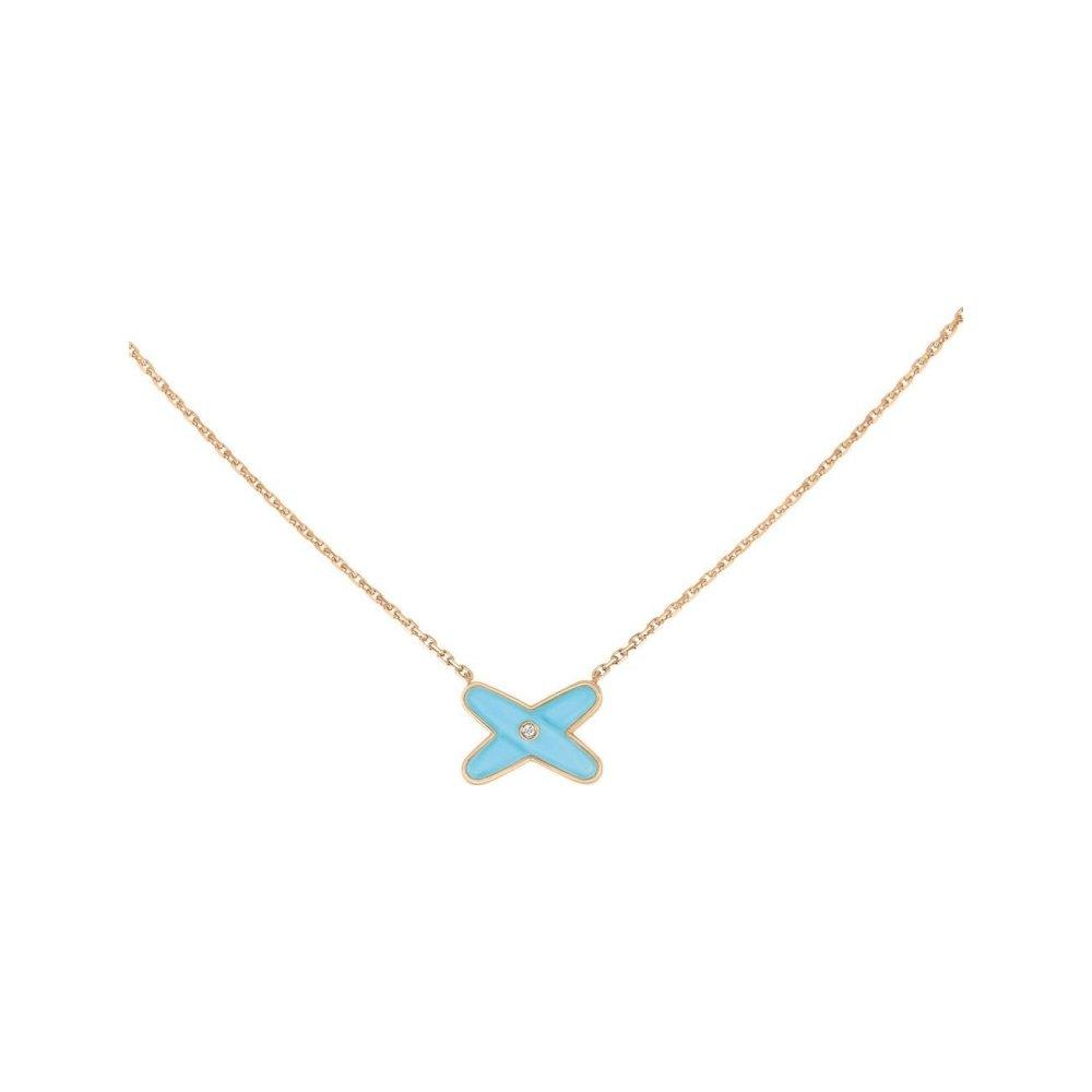 Pendentif Chaumet Jeux de Liens en Or rose Turquoise et Diamant vue 1