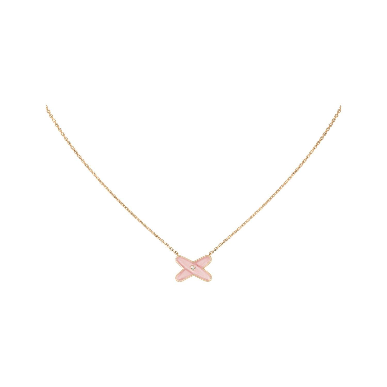 Pendentif Chaumet Jeux de Liens en or rose, diamants et opale rose