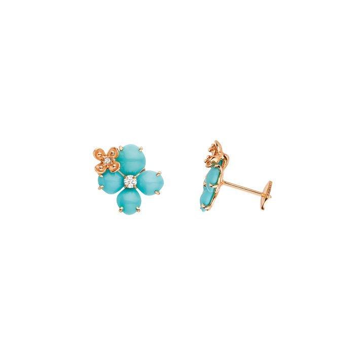 Boucles d'oreilles Chaumet Hortensia Eden en or rose, diamants et turquoise vue 2
