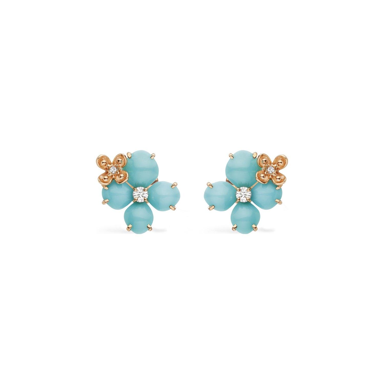 Boucles d'oreilles Chaumet Hortensia Eden en or rose, diamants et turquoise vue 1