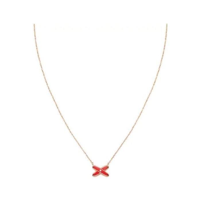 Pendentif Chaumet Jeux de Liens en or rose, diamant et laque rouge