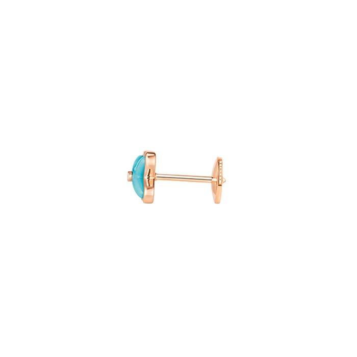 Boucles d'oreilles Chaumet Jeux de Liens en or rose, diamants et turquoises vue 2