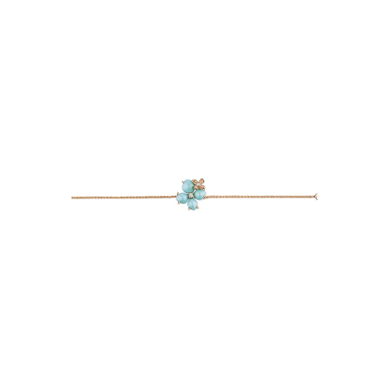 Bracelet Chaumet Hortensia Eden en or rose, diamants et turquoise