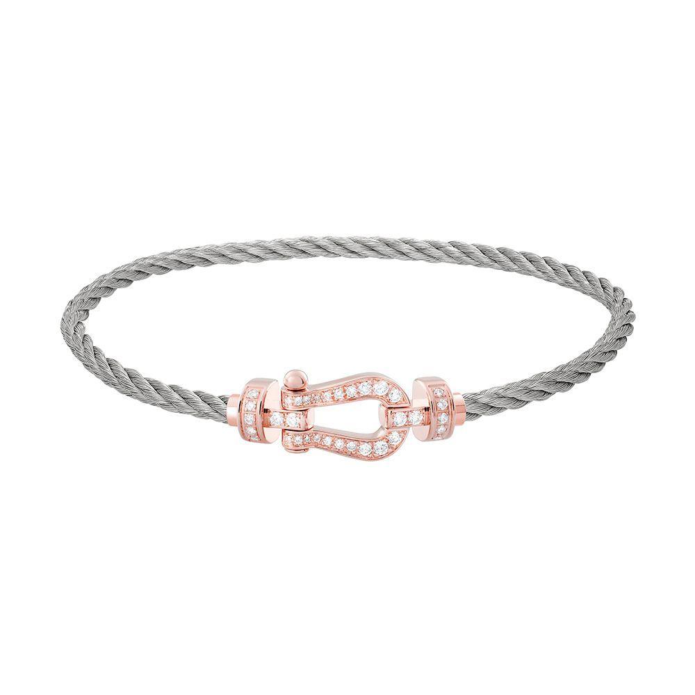 Bracelet FRED Force 10 moyen modèle manille en or rose, diamants et câble en acier  vue 1