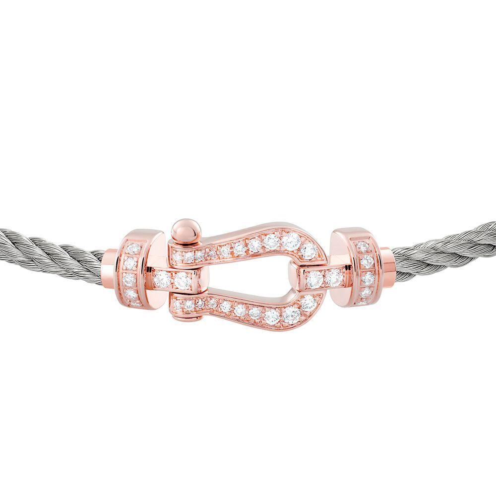 Bracelet FRED Force 10 moyen modèle manille en or rose, diamants et câble en acier  vue 2