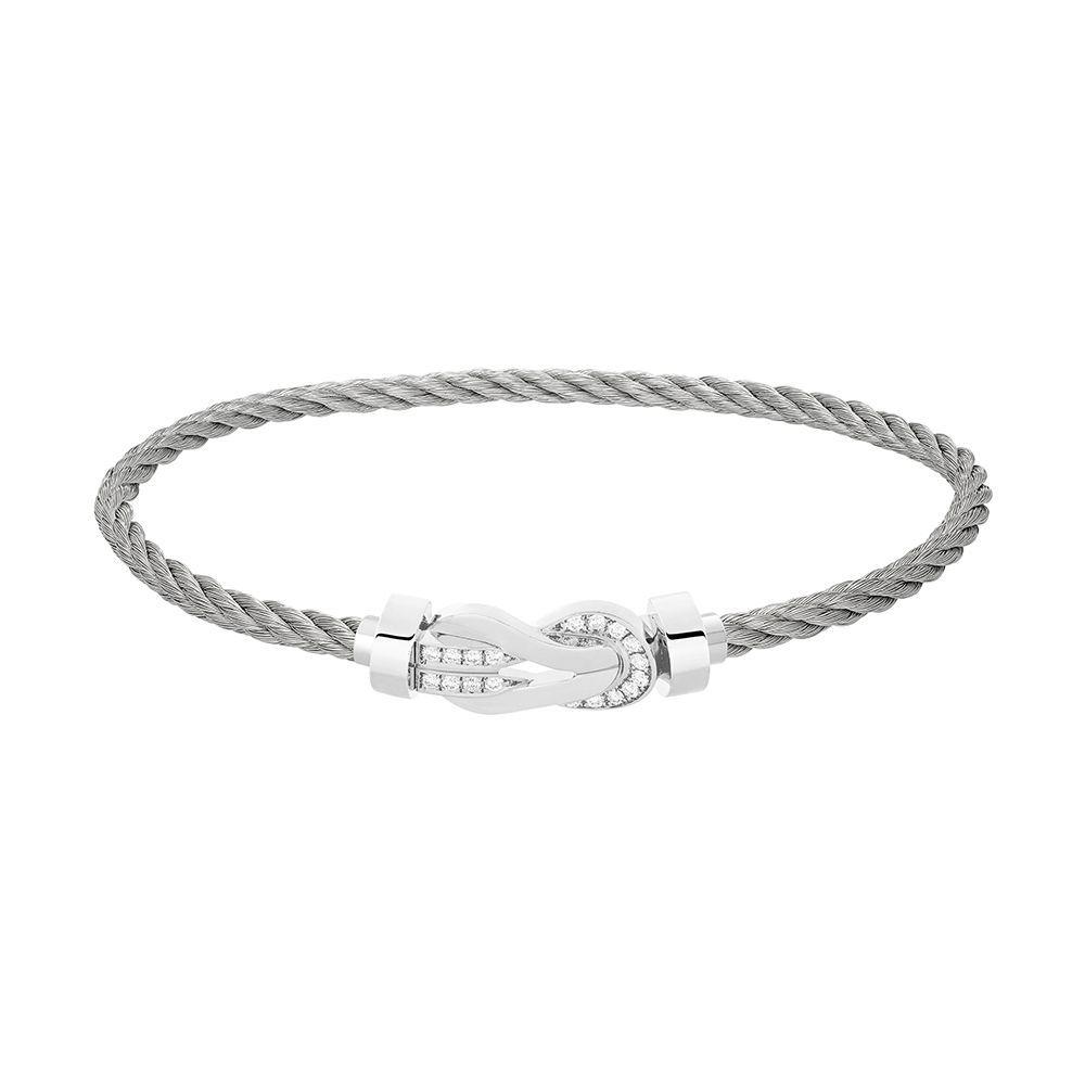 Bracelet FRED 8°0 moyen modèle boucle en or blanc, diamants et câble en acier  vue 1