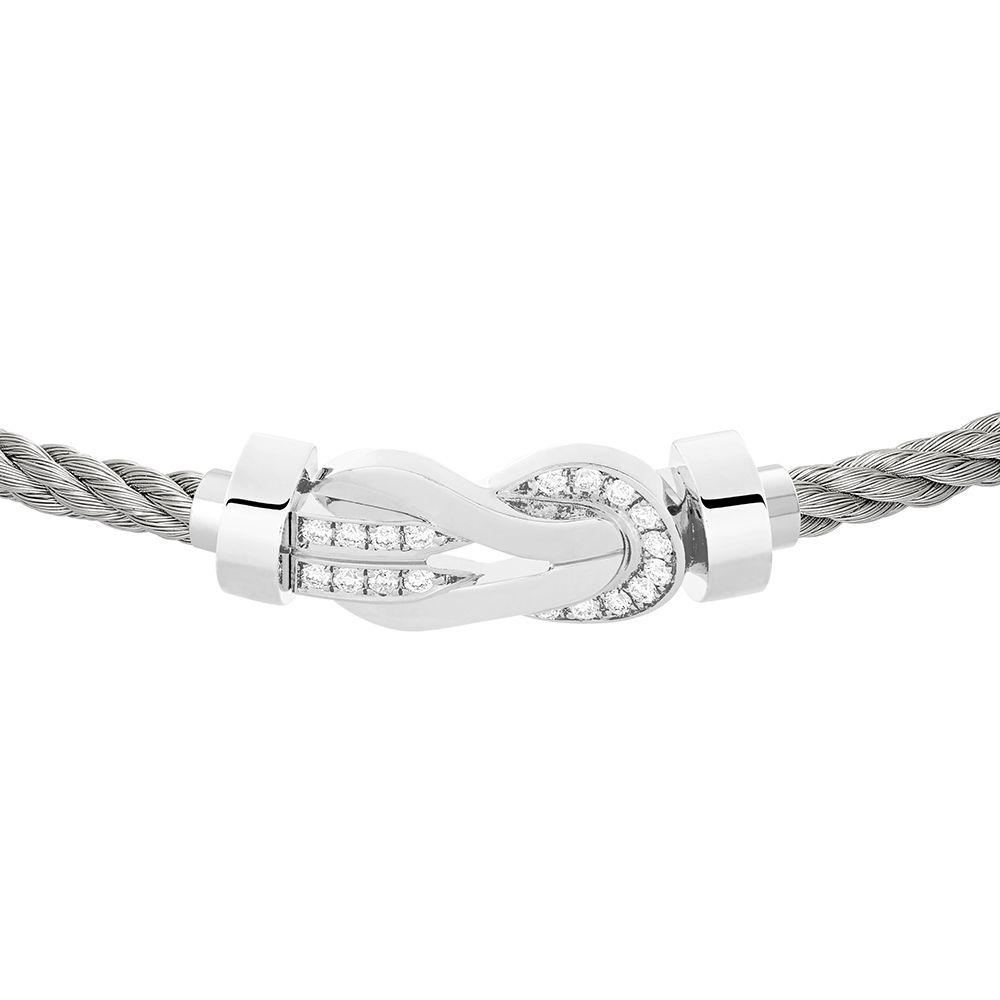 Bracelet FRED 8°0 moyen modèle boucle en or blanc, diamants et câble en acier  vue 2