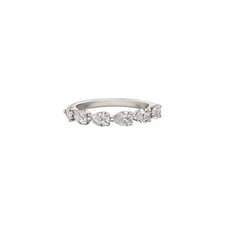 Demi alliance diamants taille poire en or blanc palladié