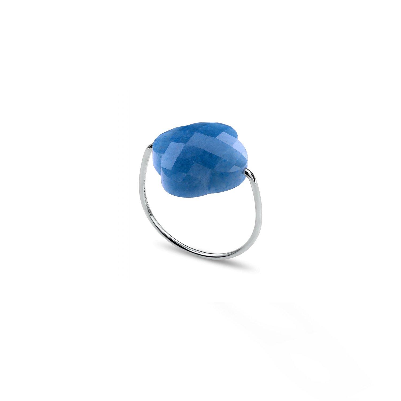 Bague Morganne Bello Friandise Trèfle en or blanc et quartz bleu vue 3