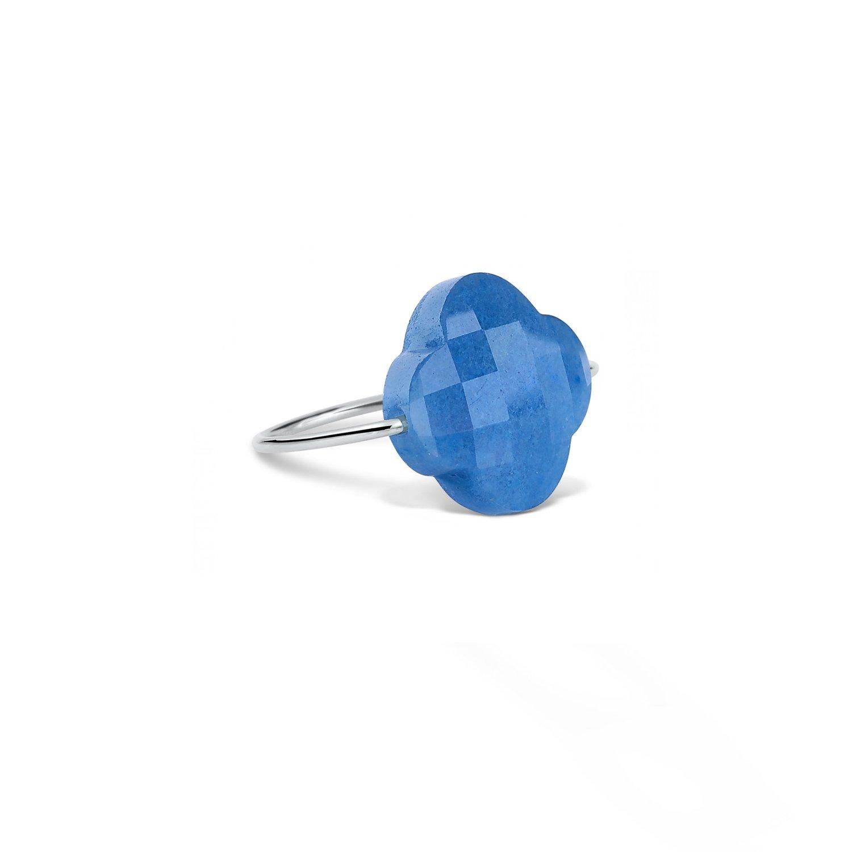 Bague Morganne Bello Friandise Trèfle en or blanc et quartz bleu vue 1
