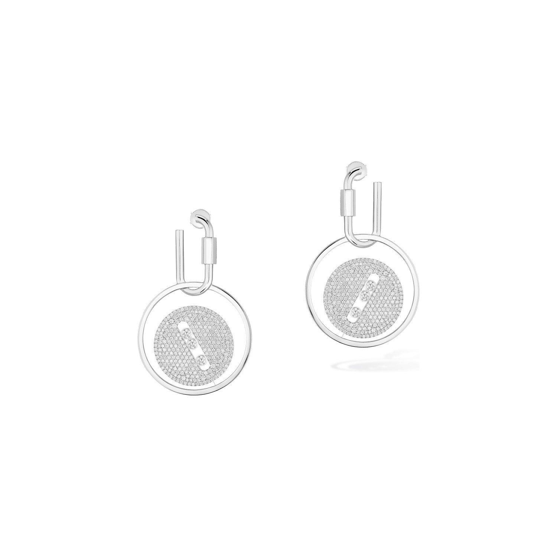 Boucles d'oreilles mousqueton Messika Lucky Move en or blanc et diamants