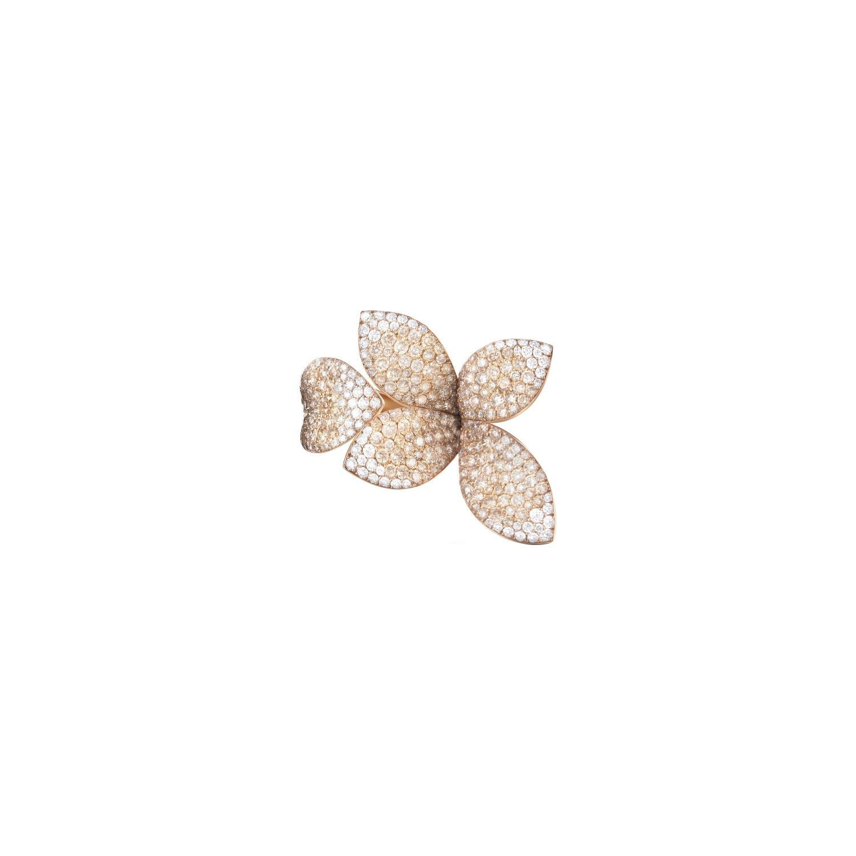 Bague Pasquale Bruni Giardini Segreti en or rose, diamants bruns et blancs