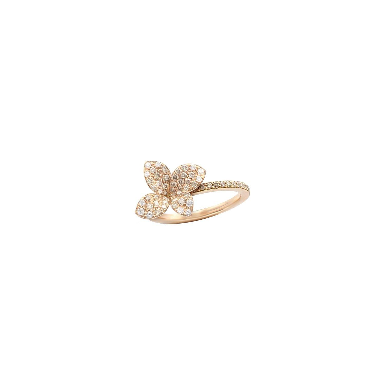 Bague Pasquale Bruni Petit garden en or rose, diamants bruns et blancs
