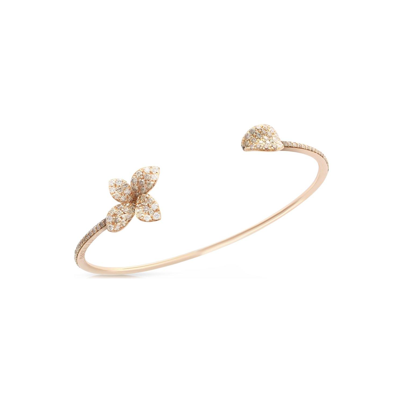 Bracelet bangle Pasquale Bruni Petit garden en or rose, diamants bruns et blancs
